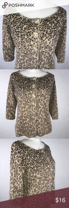 """Additions by Chico's Animal Print Sweater Size 0 This Cardigan Sweater Is In Excellent Condition!! Sequined Shoulders And Neckline Swing Waist with 3 Large Buttons to Close. Belled 3/4 Sleeves  Measurements- Women's Size 0  Small, Length 24"""", Bust 35"""", Sleeve 15""""  Code34/262 Additions by Chico's Sweaters Cardigans"""