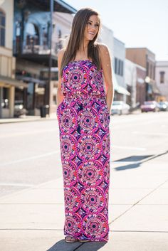 By The Ocean Maxi Dress, Kaleidoscope-Fuchsia || Wherever you decide to wear this beautiful, fun maxi is a great idea! All those bright colors in such an eye-catching pattern make for one memorable maxi!