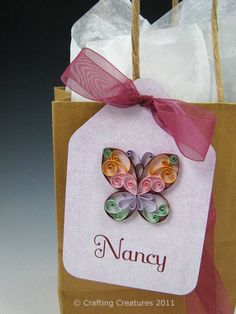 Quilled Butterfly - Gift Tag - Quilled Creations Quilling Gallery