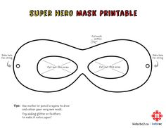 Click to download a blank superhero mask template you can colour in
