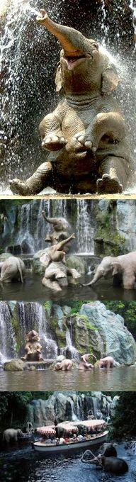 """Fake - Pinned as the """"Happy Elephant"""". This is an image of an animated elephant at the Jungle Cruise, Disney World, Florida. The other images show an increasing distance from the elephant ending with a shot of the boat with the elephant at the top right behind the boat."""