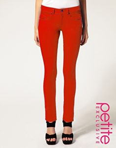 asos petite red skinny jeans