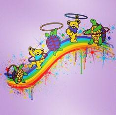 Grateful dead bears and turtles hula hooping 😍 Grateful Dead Blanket, Grateful Dead Dancing Bears, Grateful Dead Quotes, Grateful Dead Tattoo, Grateful Dead Wallpaper, Flow Arts, Hippie Art, Hippie Life, Happy Hippie