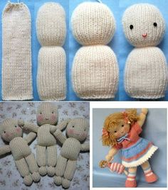 Baby Knitting Patterns Toys I know its not crochet but now i know how to make these hospital teddies. Knitted Doll Patterns, Knitted Dolls, Crochet Dolls, Animal Knitting Patterns, Sock Dolls, Doll Toys, Loom Knitting, Baby Knitting, Knitted Baby