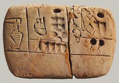 Administrative tablet in cuneiform. 3100–2900 BCE. Jemdet Nasr period (Uruk III script). Southern Mesopotamia. At the MMA. #archaeology #writing