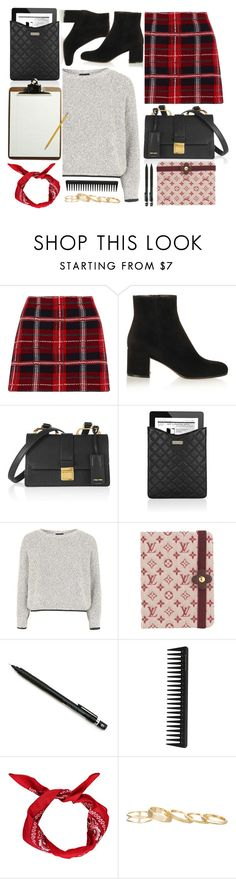 """""""Years Of School"""" by monmondefou ❤ liked on Polyvore featuring Miu Miu, Gianvito Rossi, Marc Jacobs, Topshop, Louis Vuitton, Pentel, GHD, Boohoo and Kendra Scott"""