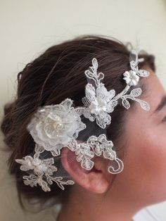 French lace Bridal Hair Piece.  If you want the best officiant for your Outer Banks, NC, ceremony, contact Rev. Barbara Mulford: myobxofficiant.com/
