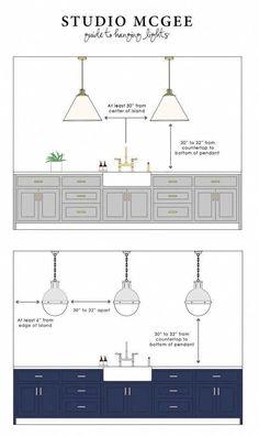 Modern Home Decor Kitchen Kitchen Lighting Design, Kitchen Lighting Fixtures, Kitchen Pendant Lighting, Kitchen Island Light Fixtures, Over Island Pendant Lights, Kitchen Island Lighting Modern, Island Pendants, Ceiling Fixtures, Studio Mcgee