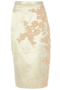 Sage embroidered pencil skirt available only at Pernia's Pop-Up Shop.