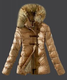 2015 New Moncler Fashion Down Women Jacket Fur Collar Light Tan
