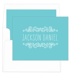 Teal Woodcut Scroll Foldover Note Cards