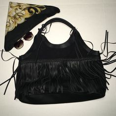 Black Fringe Hobo Bag