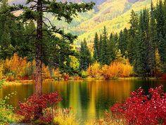 autumn landscape - beautiful, colors, fall, lake, mountain, nature, red, reflection