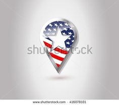 Usa Flag Location Map Pin Icon Map Pointer Map Marker Map Pin Vector