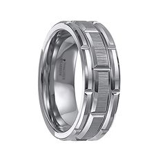 warwick beveled tungsten carbide wedding band with brush finished center and alternating grooves 8 mm does not delay order in stock ships fast