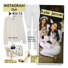"""Instagram style: Kylie Jenner"" by hamaly ❤ liked on Polyvore featuring Moschino, Topshop, Mason's, Tamara Mellon, topstory and HOMEPAGE"