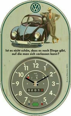 Setting up in vintage style with a wall clock VW Käfer I markt. Volkswagen Karmann Ghia, Auto Volkswagen, Volkswagen Factory, Honda Shadow, Vw Bus, Bmw Logo, Van Vw, Kdf Wagen, Vw Vintage