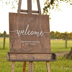 On the lookout for the latest wedding trends? At Kara's Party Ideas you'll see the wedding signs I am crushing on right now. See all the details here! Rustic Wedding Signs, Wedding Welcome Signs, Wedding Signage, Rustic Signs, Wedding Props, Wooden Welcome Signs, Wooden Signs, Painted Signs, Reception Signs
