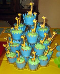 Giraffe Cupcake toppers & wrappers  12 sets by pieceofcupcake, $15.00