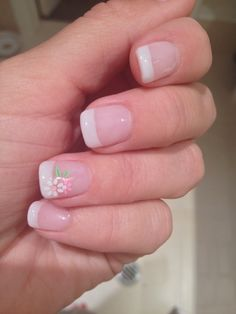 French manicure with Biosculpture gel and flower transfer sticker. Manicures, Nails Inspiration, Pretty Nails, Nailart, Art Ideas, Sticker, French, Flower, Finger Nails