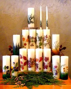 Heather Candles, LLC.  Heather Candles - well known for 30 years for beautiful highest quality handcrafted candles using pressed flowers and leaves embedded in pure beeswax. Personalization our specialty.