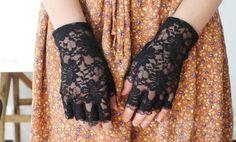 Black Lace Wedding Gloves, Bridal gloves, fingerlass gloves, bridal lace, black lace gloves, gothic