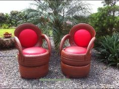 Recycling Old Tires: 30 Models – Crafts Step by Step! Tire Garden, Garden Yard Ideas, Garden Crafts, Garden Projects, Tire Furniture, Garden Furniture, Outdoor Furniture Sets, School Furniture, Tire Craft