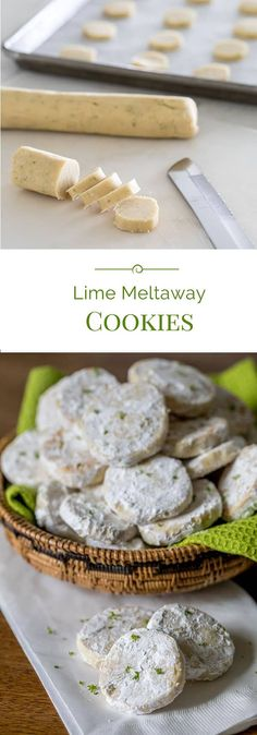 A meltaway is a crumbly cookie that melts in your mouth. These Lime Meltaways are a not-too-sweet cookie with a tart lime flavor dusted with powdered sugar. . . #cookies #lime #dessert