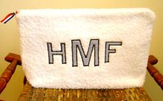 A monogrammed terry pouch for Matthew.    Our friends have a new baby boy, Matthew Harlan F.  I made him a terry pouch for baby toiletries. ...