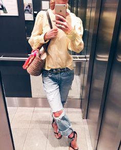 """Gefällt 49 Mal, 4 Kommentare - Bine kocht! (@bine_kocht) auf Instagram: """"#blouse #yellow #dorotheeschumacher #seven #7forallmankind #jeans #destroyedjeans #boyfriendjeans…"""""""