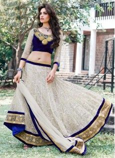 Off White Shade Net A-Line Lehenga Choli