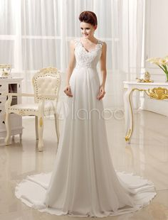 Ivory Lace Chiffon Sweetheart Neck Backless Bridal Wedding Gown - Milanoo.com