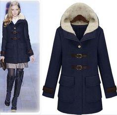 7415ce22062ce Encontrar Más Lana y Mezcla Información acerca de Moda mujeres abrigo de  lana engrosamiento sólido abrigo