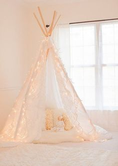 Pin for Later: Girls' Night In: How to Throw a Grown-Up Sleepover Indoor Tent Make or buy a pretty teepee tent for dreamy sleeping. My New Room, My Room, Girls Bedroom, Bedroom Decor, Bedroom Ideas, Tent Bedroom, Fairy Bedroom, Purple Bedrooms, Kid Bedrooms