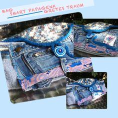 Handtasche - TASCHE, SMART PAPAGENA, blau,rosa,retro - ein Designerstück von…