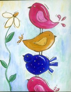 Spring birds whimsical canvas painting for adult canvas party. #acrylic #painting