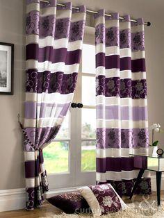 Jasmine Floral Embroidered Aubergine Purple Voile Eyelet Curtain - Curtains UK