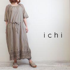 ICHI コットン カットワーク*ワンピース(グレイッシュカーキC)