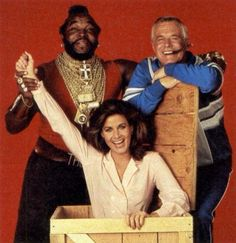 Mr T. (B.A.), George Peppard (Hannibal) and Marla Heasley (Tawnia)