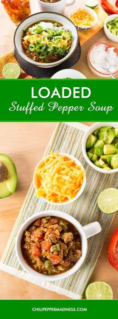 Loaded Stuffed Pepper Soup Recipe - This healthy-yet-hearty stuffed pepper soup is truly a stuffed pepper in a bowl, and our Madness version includes plenty of additional fixings to load it up for pure satisfaction. Habanero Recipes, Spicy Chicken Recipes, Jalapeno Recipes, Soup Recipes, Mexican Breakfast Recipes, Mexican Food Recipes, Ethnic Recipes, Sweets Recipes, Stuffed Pepper Soup