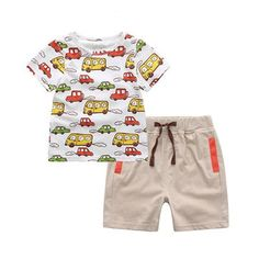 273bd3db2158f White Cartoon Cars Print T-Shirt With Short Pants For Boys Kids Outfits  Girls