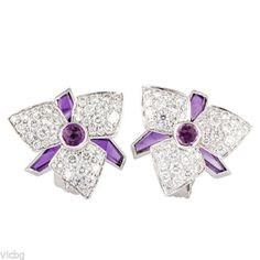 CARTIER-Blossom-Collection-Diamond-Amethyst-and-Tourmaline-Earrings-in-18K-Gold