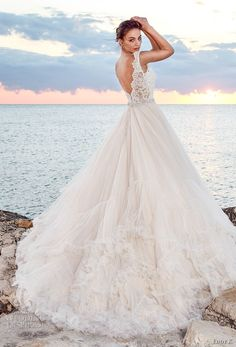eddy k 2018 bridal sleeveless embroidered strap v neck heavily embellished bodice tulle skirt romantic princess ball gown a line wedding dress open v back chapel train (denia) bv -- Eddy K. Dreams 2018 Wedding Dresses #wedding #bridal #weddingdress