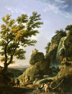 Landscape with Waterfall and Figures jigsaw puzzle in Waterfalls puzzles on TheJigsawPuzzles.com