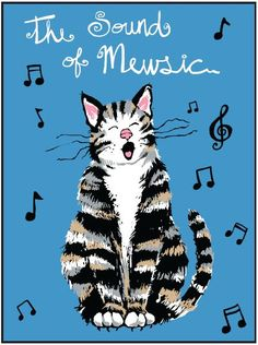Sound of Mewsic, this one is for Zoey, always something to say! Crazy Cat Lady, Crazy Cats, Cat Puns, Image Chat, Kinds Of Cats, Cat Posters, Owning A Cat, Cat Quotes, All About Cats