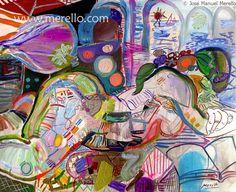 MODERN_ART_GALLERY_CONTEMPORARY_DECO_INTERIORS-.Merello.-Leyendo_el_libro_del_mar_(81_x_100_cm)_canvas