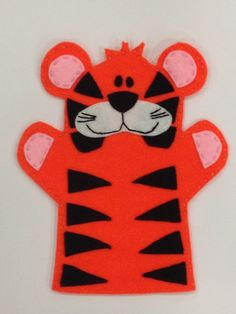 Tiger Hand Puppet on Etsy, Glove Puppets, Felt Puppets, Puppets For Kids, Felt Finger Puppets, Hand Puppets, Felt Patterns, Stuffed Toys Patterns, Grandma Crafts, Finger Puppet Patterns