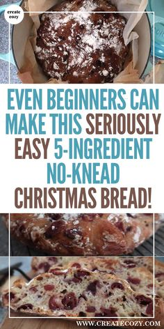 Create Cozy - Home Nothing tastes as good as oven fresh homemade bread! Check out this easy and tasty, no-knead artisa Healthy Desserts, Dessert Recipes, Dinner Recipes, Easy Recipes, Oven Recipes, Christmas Bread, Christmas Recipes, Swedish Christmas, Christmas Baking