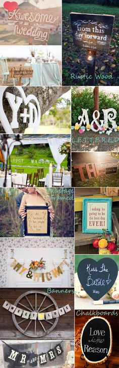 wedding signs - even though I don't shoot weddings, these are cute!