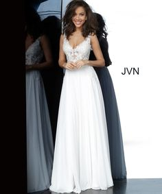 Dress - JVN white simple prom dress from the new 2020 collection. Features a sheer embroidered bodice, v-neckline, and low v-shaped back, floor-length pleated skirt. V Neck Prom Dresses, Jovani Dresses, Plus Size Prom Dresses, Homecoming Dresses, Formal Dresses, Wedding Dresses, White Prom Dresses, Grey Prom Dress, Chiffon Dresses